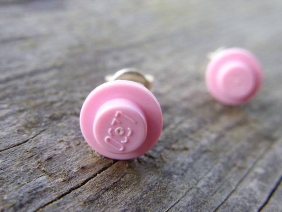 Lego post earrings lego jewelry lego earrings pastel pink pale tiny small fun geek stud earrings toy