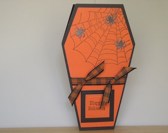 Halloween Haunted Coffin with Spiders, Orange and Black-  Handmade Card and Envelope
