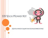 DIY Sock Monkey Kit-all you need to make a blue, green, and yellow animal print sock monkey friend