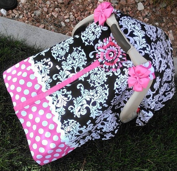 Carseat Canpoy Hot Pink and Black Elegance / Car seat cover / car seat canopy / carseat cover / carseat canopy / nursing cover