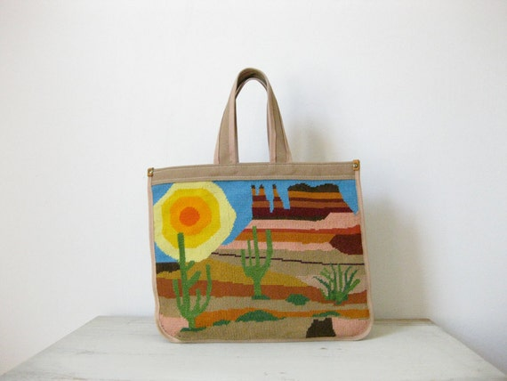 tapestry canvas tote // vintage 1970s // southwest desert