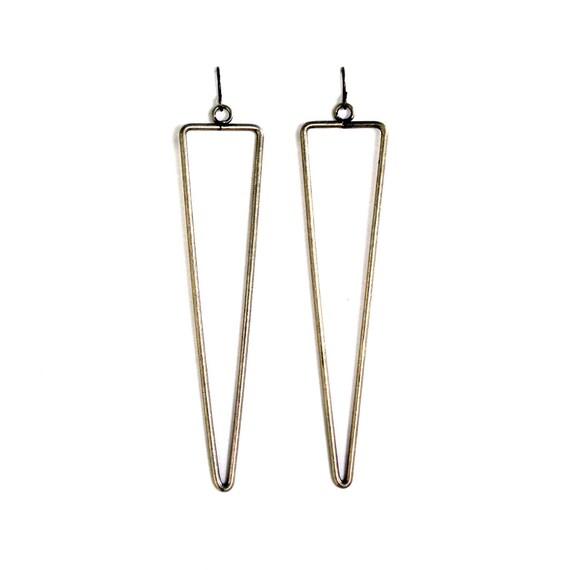 antique brass triangular line earrings