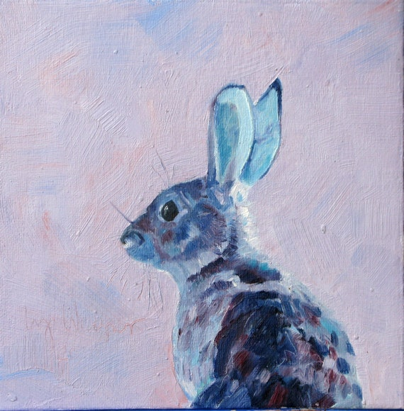 RABBIT, an original oil painting on canvas board, 8 x 8 inches, unframed. By Yvonne Wagner. Bunny. Bunny Rabbit. Easter. Kaninchen. Lapin.