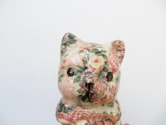 Kitsch Floral Ceramic Cat