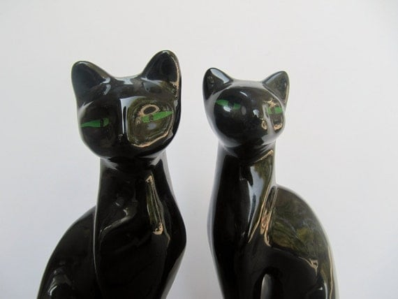 Halloween Mid Century Ceramic Black Cats with Green Eyes