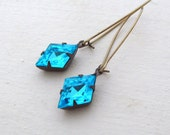 Ice Blue Rhinestone Earrings Aqua Rhinestone Earrings Hollywood Glam Bridal Earrings Something Blue - Blue Jean Dream