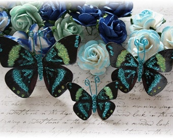 Rustic Rain Butterfly Die Cut Embellishments for Scrapbooking, Cardmaking, Tag Art, Mixed Media, Wedding