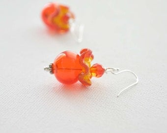 Firey Red Ruffled Earrings on Sterling Silver, Hollow Glass, Lampwork Glass