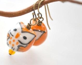Owl Earrings, Bird Earrings, Orange Earrings, Ceramic Bead Earrings, Beaded Earrings