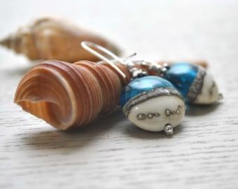 Blue Ocean Lampwork Glass Earrings, Nautical, Aqua Blue Dangle