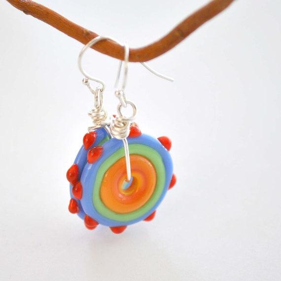 Colorful Lampwork Glass Disc Earrings, Orange Glass Earrings, Flat Disc, Bumpy Glass Earrings