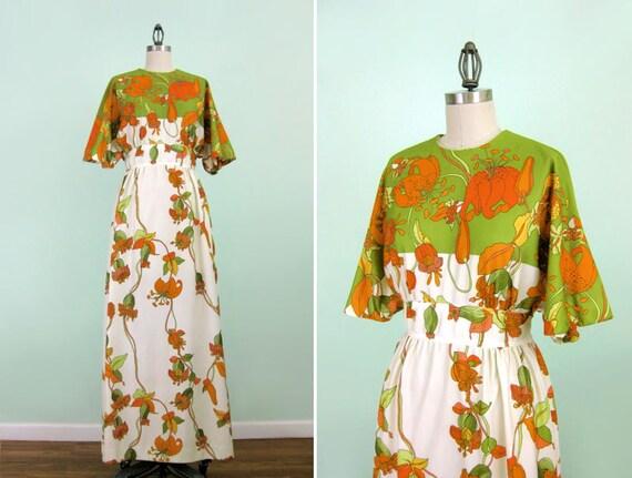 SALE - Floral Bohemian Maxi Vintage Dress - Medium Large