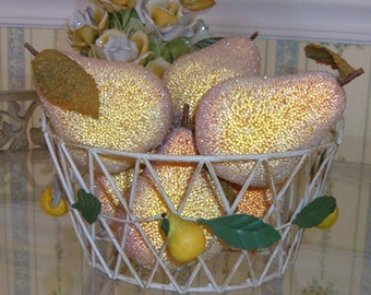 Vintage Italian Tole Lemon Fruit Hanging Basket Cottage Beach House Chic