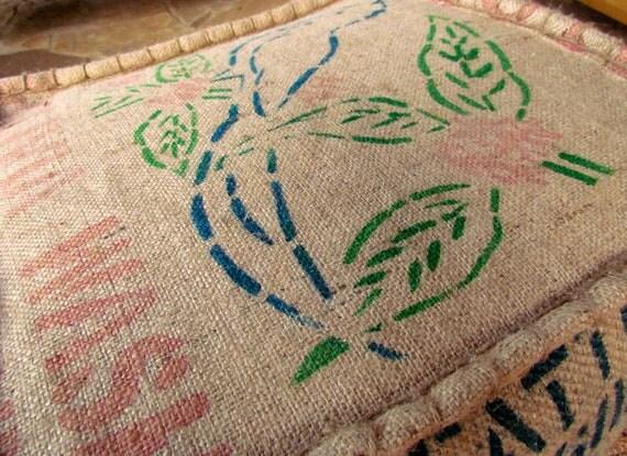 Burlap Coffe Bag Pouf Ottoman