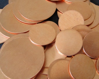 S A L E - 10 pcs - Copper 3/4  inch Round Disc 22 Gauge - for Hand Stamping Jewelry