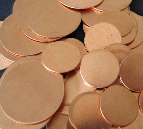 S A L E - 10 pcs - Copper 1/2  inch Round Disc 22 Gauge - for Hand Stamping Jewelry