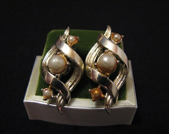 Vintage Coro Gold Tone and White Faux Pearl Swirled Clip Earrings