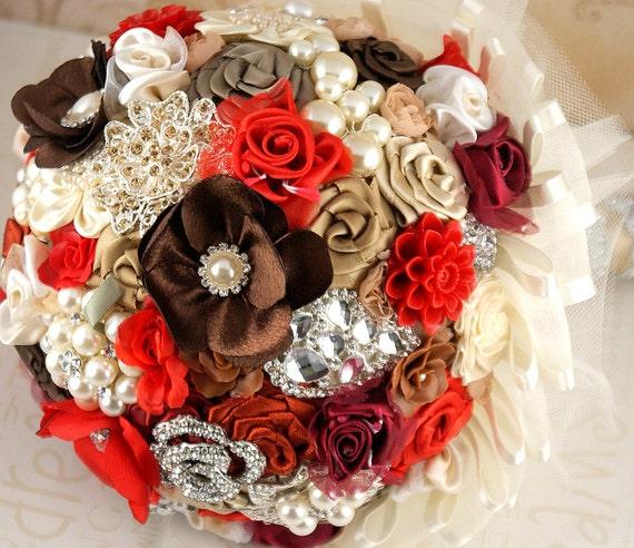Брошь Букет Jeweled Букет в красный, коричневый и Шампань-Kasey