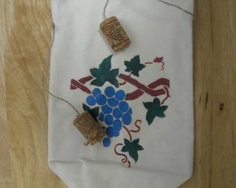 Wine Bottle Tote Bag with Grape Vine Stencil