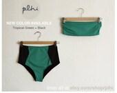 New High Waist Bikini ///// Tropical green & Black