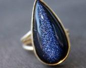 Midnight Blue Sunstone Ring - Teardrop Ring - Navy Blue, Starry night