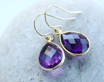 Simple Purple Amethyst Quartz Teardrop Gemstone Earrings - 14KT Gold Filled Hooks