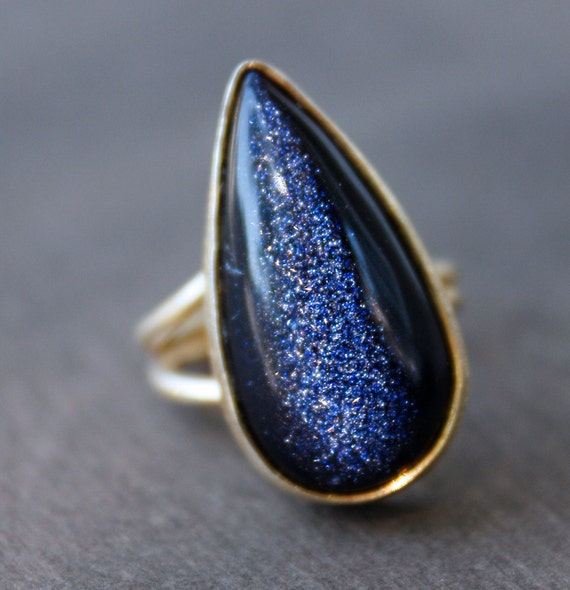 Midnight Blue Sunstone Ring - Teardrop Ring - Navy Blue, Starry night