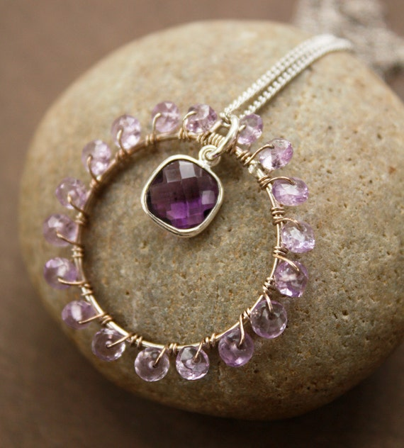SALE Pink Amethyst Wire Wrapped Necklace - Amethyst Quartz - Royal Purple, Round Pendant - MARKED DOWN