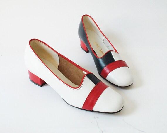 Vintage 1970s Slip On Leather Mini Heels Size 6