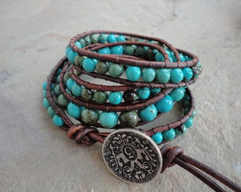 Macavo Turquoise Beaded Natural Leather Wrap Bracelet
