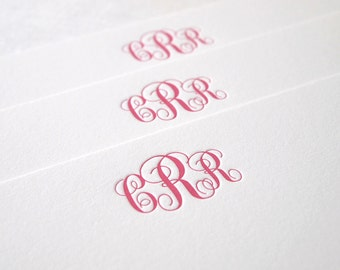 Classic Monogram Letterpress Stationery - Personalized Set of 25 Flat Notes - First Anniversary