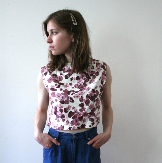 Vintage 60s Floral Cropped Shell Top
