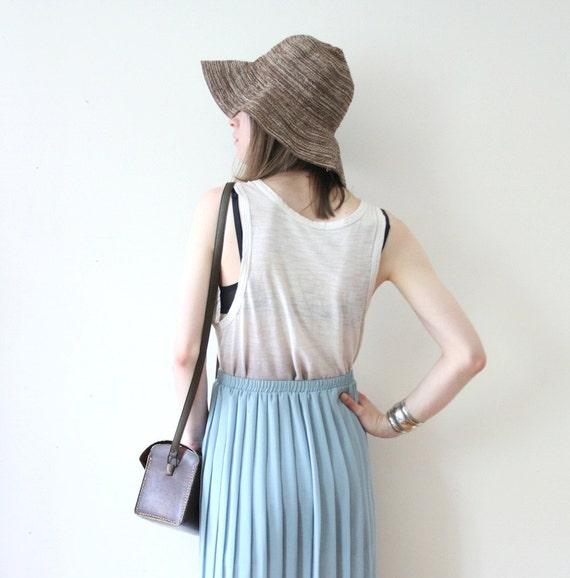 Vintage 70s Sheer Blue Pleated Beach Maxi Skirt