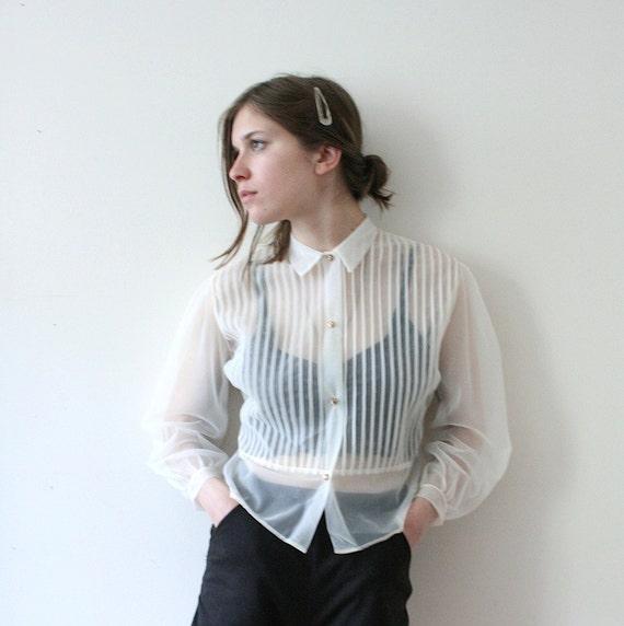 Vintage 40s Sheer Edwardian Tuxedo Blouse