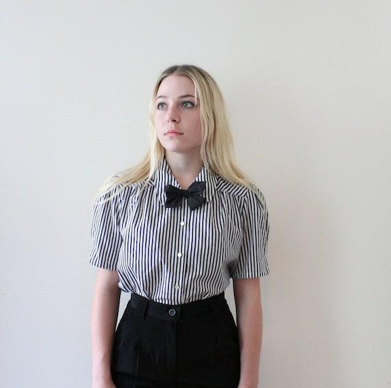 Vintage 80s Striped Silky Secretary Blouse