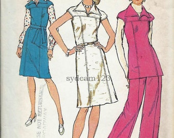 Vintage 1974 Wing Collar Princess Seamed Dress,Jumper and Tunic...Wide Leg Pants Simplicity 6232 Bust 34 UNCUT