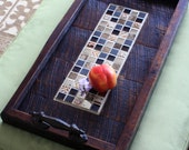 Serving Tray, Mosaic Centerpiece, Reclaimed Wood, Rustic Contemporary, Dark Brown Finish, 13 x 24 - Handmade