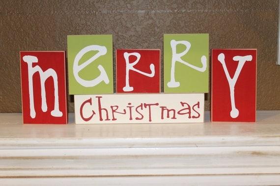 Merry Christmas Blocks Christmas Decor By Craftswithasideofyou
