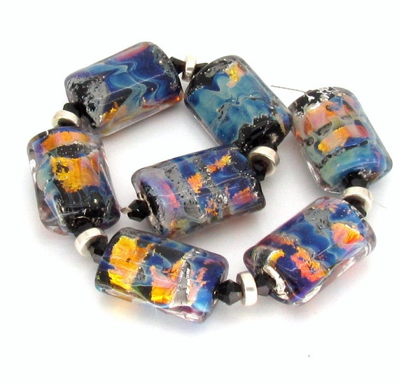 "Lampwork Bead Set FHFteam UK SRA - ""Mirage"" Multicolor Opals Blue Gold Silver Glass lozenges"