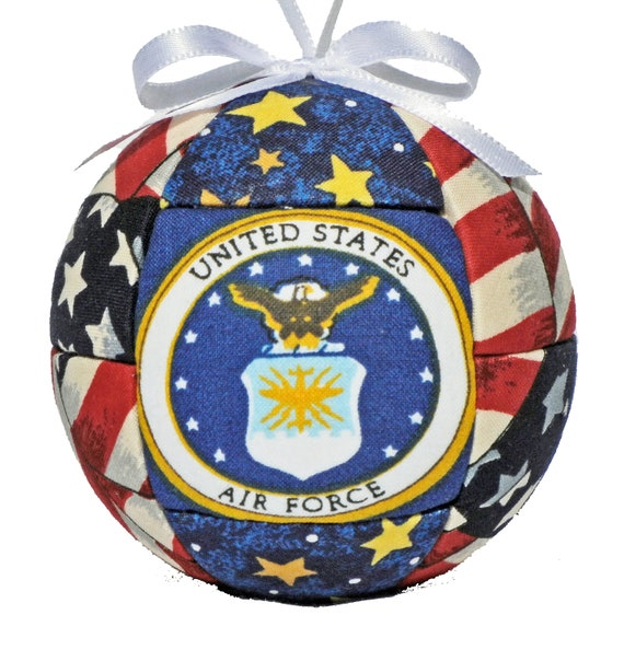 Air Force Patriotic Christmas Ornament Fabric Quilted Ornament Holiday Handmade Tree Decoration Ready to ship Christmas Gift by CraftCrazy4U