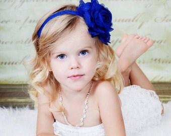 Royal / Light Navy Blue Flower Headband - Light Navy Blue Chiffon Rose Headband or Hair Clip - The Emma - Baby Toddler Child Girls Headband