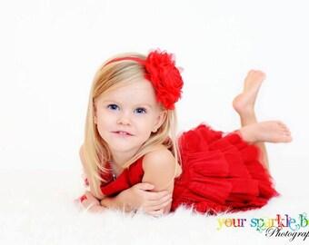 Red Flower Headband, Christmas Headband, Chiffon Rose Headband or Red Hair Clip, The Emma, Newborn Baby Toddler Child Girls Headbands Adult