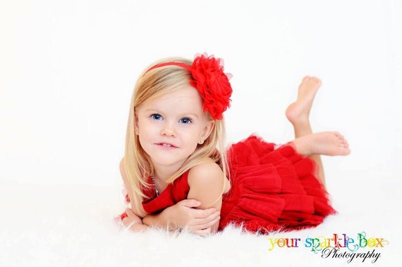 Red Flower Headband, Christmas Headband, Chiffon Rose Headband or Red Hair Clip, The Emma, Baby Toddler Child Girls Headbands Adult