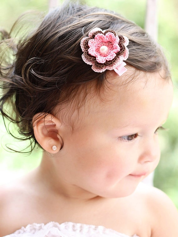 Girls Hair Accessory -  Crochet Flower in Light Pink, Chocolate and Pink Flower With Pearl Center Hair Clip