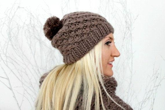 Hand Knitted Pom Pom Beanie Pom Pom Beanie Taupe Knit Beanie Chunky Winter Hat Beanie Set Cozy Soft Knitted Beanie Womens Beanie Slouchy Hat