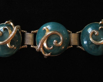 1940's Serpentine Bracelet, Vintage Green Plastic