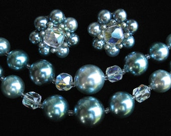 Blue Faux Pearl and Crystal Necklace and Earring Mad Men Demi