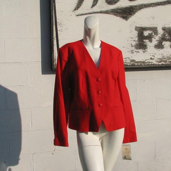Vintage Cherry Red Pendleton Wool Crop Jacket Collarless Blazer - Size 14