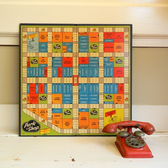 1950's vintage park and shop game board