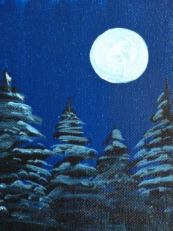 Snowy Night- Original Painting by Jamies Art 5x7